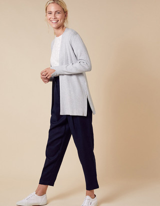 Monsoon Zip Side Knit Cardigan with LENZING ECOVERO Grey