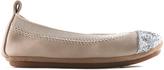 Yosi Samra Fawn & Silver Glitter Toe Sammie Leather Ballet Flat