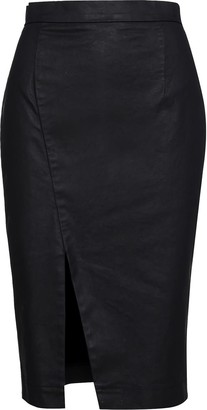 Conquista Black Washed Denim Pencil Skirt