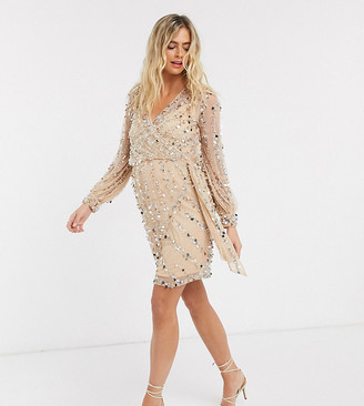 ASOS DESIGN Maternity embellished robe mini dress with belt detail in pink / silver