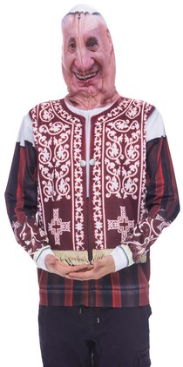 Faux Real Men's Pope Mask Full Face Zip up Printed Hoodie