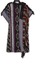 Chloé Fringed Embellished Wool-blend Poncho - Black