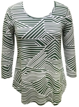 JM Collection Petite Printed 3/4-Sleeve Top, Created for Macy's