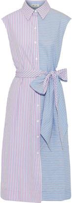 Diane von Furstenberg Paneled Striped Cotton-poplin Midi Shirt Dress