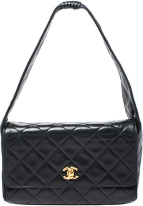 Chanel Black Quilted Leather Vintage Shoulder Bag