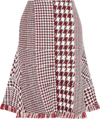 Oscar de la Renta Fluted Fringe-trimmed Houndstooth Tweed Skirt