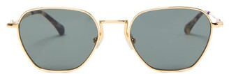 Linda Farrow X Alessandra Rich Hexagonal Metal Sunglasses - Womens - Green