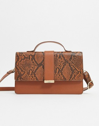 ASOS DESIGN tan satchel bag with snake panel