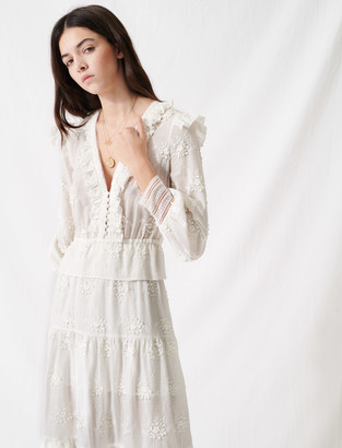 Maje Ecru dress with ruffles and embroidery