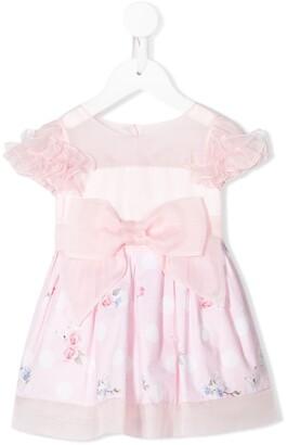 Lapin House Silk Ruffle Sleeve Bow Detail Dress