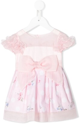 Lapin House Silk Ruffle Sleeve Bow Detail Dress