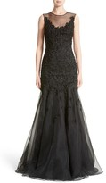 Women's Carmen Marc Valvo Couture Floral Applique Trumpet Gown