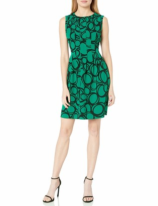 Anne Klein Women's Circle Printed Crepe Vertical Seamed Fit & Flare Dress