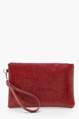 boohoo Croc Zip Top Clutch Bag