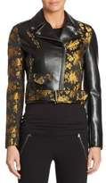 Moschino Floral-Print Leather Jacket