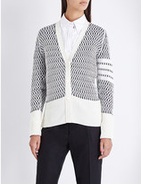 Thom Browne Knitted net cotton and cashmere-blend cardigan