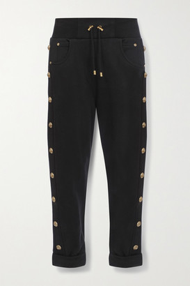 Balmain Button-embellished Cotton-jersey Track Pants - Black