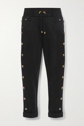 Balmain Button-embellished Cotton-jersey Track Pants