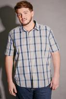 Yours Clothing BadRhino Blue & White Check Short Sleeve Cotton Shirt