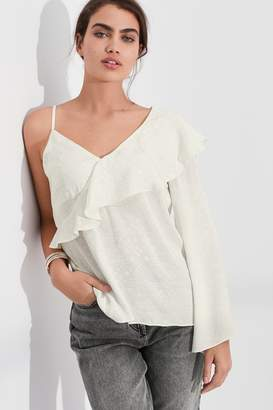 Next Womens Ecru One Shoulder Ruffle Top - White