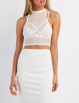 Charlotte Russe Mock Neck Mesh Crop Top