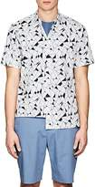 Theory Men's Geometric-Print Cotton Poplin Shirt