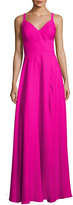 Nicole Miller New York Wide-Strap Crepe A-line Gown, Fuchsia
