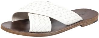 Bottega Veneta White Criss Cross Intrecciato Leather Flat Slides Size 43