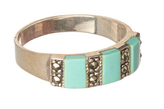 Vera & Co. Women's Rings Turquoise - Teal & Marcasite Band Ring