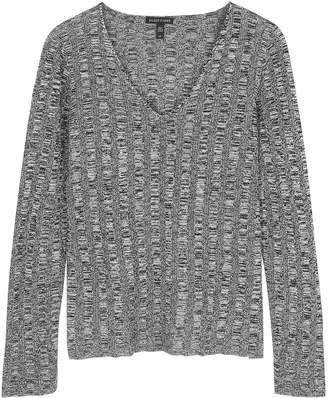 Eileen Fisher Grey Knitted Silk And Linen-blend Top