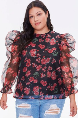 Forever 21 Plus Size Floral Balloon-Sleeve Top