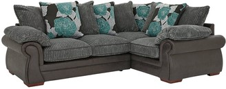 Andorra Fabric and Faux Snakeskin Right Hand Double Arm Scatter Back Corner Group Sofa