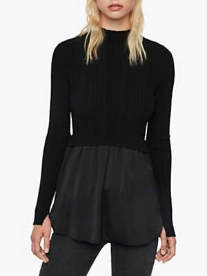 AllSaints Karla Shirt Jumper, Black