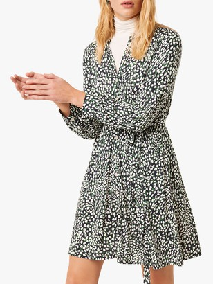 French Connection Vasha Meadow Jersey Shirt Dress, Forest Green