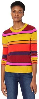 J.Crew Cashmere Crew Neck Sweater in Multi Stripe (Golden Mustard Multi) Women's Sweater