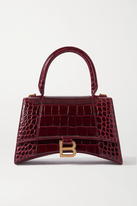 Balenciaga Hourglass Croc-effect Leather Tote - Burgundy
