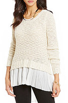 Takara Pleated High-Low Chiffon Hem Sweater