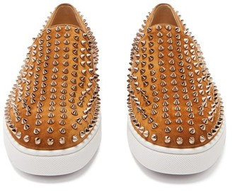 Christian Louboutin Roller-boat Spike-embellished Slip-on Trainers - Yellow Gold