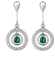 A&M A & M Silver-Tone Emerald Accent Circle Drop Earrings