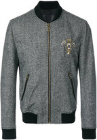 Dolce & Gabbana patch appliqué tweed bomber jacket - men - Polyamide/Spandex/Elastane/Bos Taurus/Virgin Wool - 46