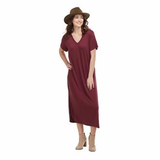 Mud Pie Women's JoJo Midi Dress Burgundy (Large)