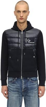 Moncler Hooded Nylon & Cotton Down Jacket