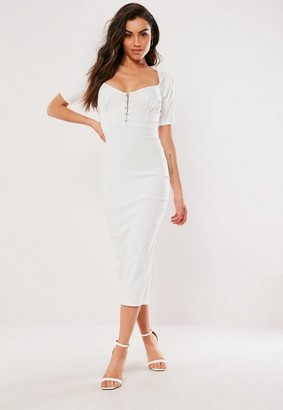 Missguided White Milkmaid Hook And Eye Bodycon Midi Dress