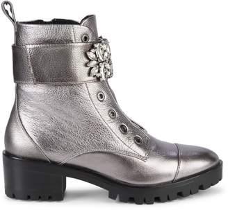 Karl Lagerfeld Paris Pippa Jeweled Strap Metallic-Leather Lug Boots