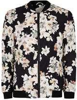 Topman Black Watercolour Floral Print Formal Bomber Jacket