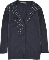 Ermanno Scervino Navy blue angora and wool blend cardigan