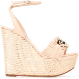 Casadei fringed strap wedge sandals