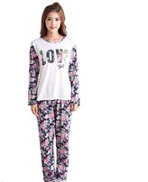 WANRU Women Long Sleeves Love flowers Pajamas Set Sleepwear for teen girls