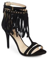 Nine West Don't Dare Fringed Suede T-Strap Sandals