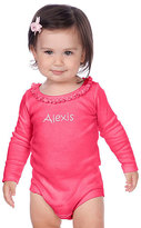 Princess Linens Pink Ruffle Long-Sleeve Personalized Bodysuit - Infant